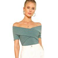 aus schulterpackungen großhandel-Green Wrap Design Top Office Damen Schulterfrei Kurzarm Sexy T-Shirt Damen Sommer Klar Schlank Elegant T-Shirt
