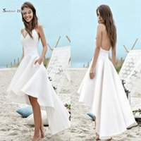 Wholesale cheap plus size wedding dresses online - Cheap Beach Boho A Line Wedding Dresses High Low Pockets Backless Spaghetti Straps Holiday Gowns Hot Sales