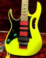 violão esquerdo amarelo venda por atacado-Canhoto Steve Vai JEM 777 Guitarra Elétrica Amarela 30º ANIVERSÁRIO Edição Limitada Últimos 4 Frets Scalloped Pink Tremolo Cavity Guitar