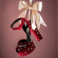 topuk parmak ayak bileği toptan satış-Toptan Bordo Siyah Yüksek Platformu Sandalet Peep Toe Ayak Bileği Kayışı Kristal Süslenmiş Tıknaz Topuklar Elbise Ayakkabı Hollow Bayanlar Sandalet