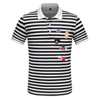 erkek için siyah şık gömlekler toptan satış-19SS Yeni Sezon Tasarımcı Polo Gömlek Erkekler Yaka Erkek Tasarımcı T Shirt Modern Siyah ve Beyaz Şık Çizgili Tasarımcı Gömlek