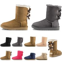 Wholesale womens fashion warm winter boots resale online - New arrivel designer womens boots Australia Classic snow Boots womens girl winter Bowtie fashion Ankle Plus cotton Keep warm size
