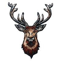 alces adesivos venda por atacado-Marrom Alces Cervos Patches Bordados Costurar Ferro Emblemas Para Roupas DIY Apliques de Decoração Artesanato Adesivo