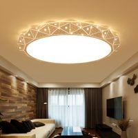 plafón blanco moderno al por mayor-Araña de techo de LED redondo blanco para sala de estar dormitorio casa AC85-265V lámpara de techo moderna lámpara de techo led