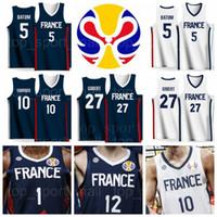 jersey 27 baloncesto al por mayor-Equipo de la Copa Mundial de 2019 Camisetas de baloncesto de Francia Evan FOURNIER 10 Frank NTILIKINA 1 Nicolas BATUM 5 Rudy GOBERT 27 Nando DE COLO 12 Amath MBAYE