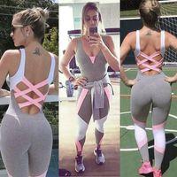 pantalones de yoga mono al por mayor-3200 # S M L XL Nuevos pantalones de yoga para mujer Sportwear Jumpsuit Set Gym Workout Running Fitness Legging Chándales