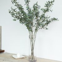 поддельные зеленые белые цветы оптовых-Искусственный шелк белого сетчатых листов зеленых растения поддельного цветок домой магазин украшение стола филиала моделирования