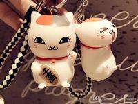paar ring katze großhandel-Maneki Neko Mini Schönes Spielzeug Schlüsselbund Paar Auto Anhänger Nette Glückliche Katze Puppe Spielzeug Schlüsselanhänger Schnalle Leder Seil Tasche Autoschlüsselkette B770LR