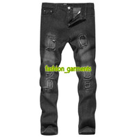 Wholesale designer trousers men for sale - Brand New Mens Pleated Feet Mens Personality Straight Slim Jeans Designer Mens Straight Jeans Casual Pants High Quality Trousers