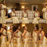 vestido de tafetá de ouro venda por atacado-Barato ouro claro Nigeriano lace Sereia Vestidos de Dama de Honra 2019 Novo Um Ombro tafetá trompete até o chão Longo Vestidos de Dama de Honra