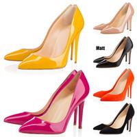 kadın ayak parmakları ayakkabıları toptan satış-Kırmızı Bottoms Lüks Tasarımcı Yani Kate Stiller Yüksek Topuklar Yuvarlak Sivri Toes Kadınlar Gelinlik Ayakkabıları 35-42 8cm 10cm 12cm pompaları