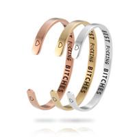ingrosso braccialetti d'argento personalizzati per le donne-Fashion Best Fucking Bitches Inspirational Bracciale Bracciale aperto Bracciale Acciaio inossidabile Oro argento Regali personalizzati incisi per le donne