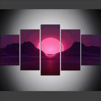 pintura al óleo de la onda al por mayor-5 unidades de gran tamaño lienzo arte de la pared fotos creativo psicodélico Virtual Sun Wave Art Print pintura al óleo para sala