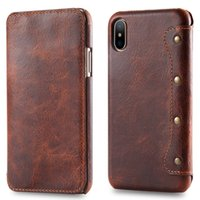 Wholesale iphone flip real online – custom Real Leather for Apple iPhone XS Max Case Coque iPhone Pro Max Case Retro Wallet for Etui iPhone XR X Flip Cover Pro XSmax