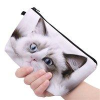 bolsa de cosméticos panda al por mayor-La impresión 3D lindo gato Negro Panda cremallera cuadrado de bolsas de cosméticos de maquillaje bolsa de viaje que viajan las señoras de la bolsa