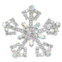 ingrosso spilla nuova lega-Lailina Nuovi gioielli in lega di zinco strass colorati delicati fiocchi di neve di Natale spilla / spille