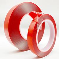 pegatinas de la cinta del espejo al por mayor-3 m de doble cara adhesiva cinta adhesiva de acrílico transparente para la habitación del hogar ventana espejo diy coche de alta resistencia sin rastros fijos