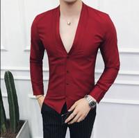 uzun v yaka siyah mini elbise toptan satış-V-Boyun Tarzı Elbise Gömlek Erkek 2019 İlkbahar Sonbahar Moda Gömlek Erkekler Siyah Beyaz Kırmızı Katı Uzun Kollu Casual Slim Fit Erkekler Gömlek