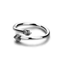 tamanho da flor de lótus venda por atacado-Lótus de prata Tailandês do vintage Knuckle Anéis para As Mulheres Boho Flor 100% sólido 925 sterling silver Ring tamanho Ajustável Charme jóias
