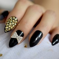 Wholesale almond nails resale online - 3D Rhinestones Black Stiletto False Nail Silver Ribbon Bow Almond Art Tips Almond UV Gel Fake Nails Press on Daily Wear