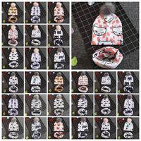 ingrosso beanie portano i bambini-27 Styles Baby Animals Printed INS Berretti Panda Shark Bear Bambini Faux Fur Pompom Ball Parauchie + Sciarpe Set CCA10886 30 set