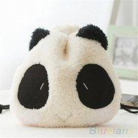 ingrosso panda borsa della moneta carina-Cute Design Fluffy Panda Coin Pouch Portafoglio trucco cosmetico con coulisse Bag # 186696