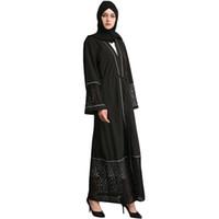 mujeres islámicas kaftan al por mayor-Las mujeres musulmanas de manga larga vestido de Dubai maxi abaya islamic mujeres vestido de la vendimia de encaje túnica caftán