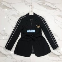 Wholesale girls long plaid coat resale online - High end women girls top coat Long Sleeve Lapel Neck button Coats With Letter hot drilling printing Belted waist Big name women s blazer