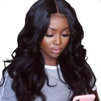 Wholesale silk base brazilian curly lace wig resale online - 180 Silk Base Full Lace Wigs With Baby Hair Pre Plucked Brazilian Body Wave Wigs With X4 Silk Base Closure Remy Hair