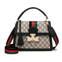 Wholesale ladies shoulder bag branded resale online - The hottest brand recommended ladies fashion print handbags designer bee lock shoulder bag high quality commuter bag