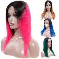 Wholesale light red lace front wigs resale online - Soft Hair Ombre Burgundy Human Hair Wigs For Women Ombre B Black Brown Green Blue Red Lace Front Wig Remy Brazilian Straight Wig