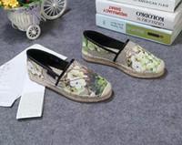 halat ayakkabıları toptan satış-2019ss bayan moda Çiçek Tuval Slip-on Espadrilles nedensel ayakkabı 20mm Halat ve kauçuk taban boyutu euro 35-41