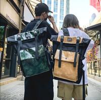 ingrosso uomini dello stile coreano dello zaino-Zaino Unisex Stile Via 2019 alla moda Streetwear Zaino Big coreano Vintage Travel Backpack pacchetto Oxford Uomo HipHop