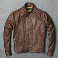 ingrosso cappuccio in pelle giacca-Menlo Cossack Retro Leather Jacket Tribute Einstein per 1938 Cappotto da uomo in vera pelle di vacchetta con cappuccio removibile