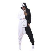 siyah beyaz çizgi film kostümleri toptan satış-Yeni Unisex Yetişkin Hayvan Monokuma Pijama Karikatür Siyah Beyaz Ayı Kigurumi Onesies Cosplay Kostümleri Tulumlar Noel