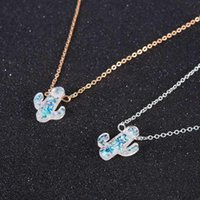 Wholesale opal choker necklaces resale online - Opal Stone Cactus Necklaces Pendants Women Natural Plant Jewelry Gold Chain Choker Necklace Birthday Gifts joyería mujer cadenas