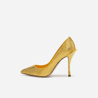 decorar zapatos de tacón alto al por mayor-Otoño tacón de aguja bombas de diamantes de imitación de satén decoradas mujeres tacones altos delgadas de tacón alto fiesta mujeres zapatos de vestir