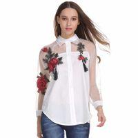 stickerei hülse bluse großhandel-2019 Womn's Fashion Floral Stickerei Bluse Langarm Hohl Mesh Splicing Weißes Hemd Plus Size Tops