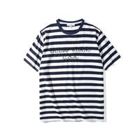 calças de brim camiseta venda por atacado-Hot Designer de Mulheres Camisetas EUA Calça Jeans de Luxo Tops de Manga Curta Bordado Stripe Camisas Dos Homens de Roupas Casuais Mulheres Soltas Tees