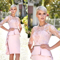 Wholesale knee length lace peplum wedding dress for sale - Group buy 2020 New Sexy Pink Mother Off Bride Dresses Jewel Neck Illusion Lace Appliques Half Sleeve peplum Knee Length Wedding Guest Evening Gowns