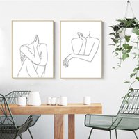 line art wall painting 2021 - Abstract Lady Line Drawing Picture Home Decor Nordic Canvas Painting Wall Art Figure Body Hand Posters and Print for Living Room