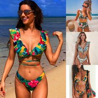bikinis volantes al por mayor-Floral mujeres Bikini Set volantes Push Up Bikini cintura alta Biquini traje de baño estampado de flores Vintage traje de baño Flounce traje de baño Y19052702