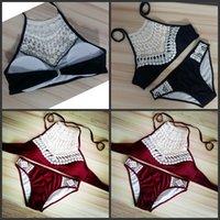 bikini kırmızı dantel toptan satış-Dantel Kadınlar Bikini Yaz Seksi Hollowing Out Bandaj Halter Bölünmüş Yüzme Suit Kırmızı Siyah Yumuşak Basit Moda Mayo 18 mzD1