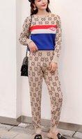 survêtement manches longues achat en gros de-Manteau Femme Survêtement en maille Sweat-shirt à manches longues Femme Sweat à capuche + pantalon Causal Sports survêtement (manteau + pantalon) Femme Vêtements