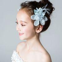 ingrosso blu corona tiaras-Beauty Blue Flowers Pezzi per ragazze 'Flower Flower' Pezzi per capelli Fasce per ragazze Wedding per ragazze Tiara / Crown Accessori per bambini H323026