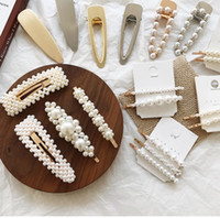 ingrosso clip di primavera ornamento-Pearl Hairpin Spring Clip Horsetail Clip Hair Ornament Hairpin Set Pearl Set Trapano Pearl Water Drill Hairpin