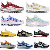 zapatos de mujer de leopardo rojo al por mayor-Nike Air Max 97 airmax Zapatillas de running para hombre NEON SEOUL Throwback Future Bright LEOPARD RED Lridescent Women Mens White silver Trainer Sports Sneakers 36-45
