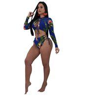 collants croisés achat en gros de-Ins Femmes Sexy Tankini Maillots De Bain À Manches Longues Rashguard 2 Pièce Maillot De Bain Pour Dame Collants Bandoulière Croix Fleurs Bikini Nager Costume De Plongée C3206