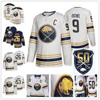 boş beyaz mayo toptan satış-50th Altın Buffalo Sabres Jack Eichel Rasmus Dahlin Jeff Skinner Takım Renk Mavi Beyaz Boş Hiçbir İsim Hiçbir Numara Dikişli Buz Hokeyi Formalar