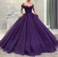 Wholesale sheath sweetheart lace evening dress resale online - Purple Ball Gown Off The Shoulder Long Prom Dresses Formal Evening Gowns Womens Party Celebrity Dress